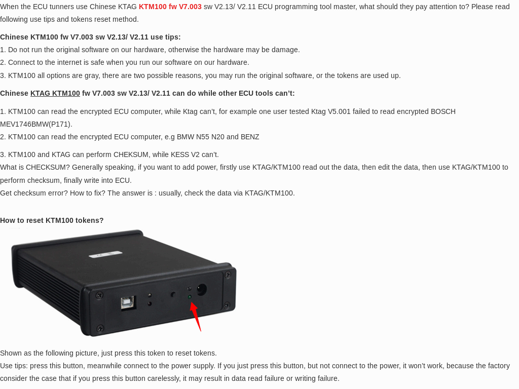 KTM100 fw V7 003 sw V2 13/ V2 11 ECU Programming Tool Master Use